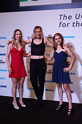 Kendall Ryan (USA), Alice Cobb (GBR) and Brodie Chapman (AUS) pose for a photo at The UCI Cycling Gala 2018 in Guilin, China on October 21, 2018. Photo by Sean Robinson/velofocus.com