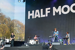 © Licensed to London News Pictures. 12/07/2014. London, UK.   Half Moon Run performing live at Hyde Park as part of the British Summer Time series of outdoor concerts.   Half Moon Run are a Canadian indie rock band  consisting of members Devon Portielje (vocals/guitar), Dylan Phillips (vocals/drums), Conner Molander (guitar/keyboard/vocals), and Isaac Symonds (vocals/percussion/mandolin/keyboard/guitar).  Photo credit : Richard Isaac/LNP