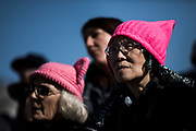 SAN FRANCISCO, CA - JANUARY 20, 2018: Women look on during a rally at Civic Center Plaza preceding the start of the Women's March in San Francisco, California on January 20, 2018. (Photo by Philip Pacheco)