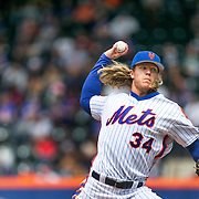 NEW YORK, NEW YORK - May 22:  Pitcher Noah Syndergaard #34 of the New York Mets pitching during the Milwaukee Brewers Vs New York Mets regular season MLB game at Citi Field on May 22 2016 in New York City. (Photo by Tim Clayton/Corbis via Getty Images)