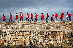 New students at the University of St Andrews take part in the traditional Pier Walk along the harbour walls of St Andrews before the start of the new academic year. The Martinmas Semester starts on Monday September 11, 2017, for all students.