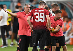 Manchester United manager Jose Mourinho gives instructions to Scott McTominay (39) against Real Madrid during International Champions Cup action at Hard Rock Stadium in Miami Gardens, FL, USA on Tuesday, July 31, 2018. Manchester United won, 2-1. Photo by Jim Rassol/Sun Sentinel/TNS/ABACAPRESS.COM