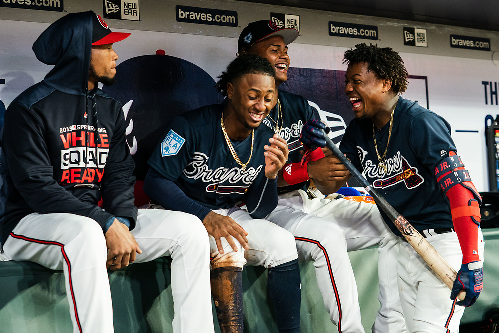 Pedro Florimon, Ozzie Albies, Christian Pache, Ronald Acuna Jr. during Braves v. Reds exhibition game on Monday, March 25, 2018 at SunTrust Park. The Braves won 8-5. Photo by Kevin D. Liles/Atlanta Braves