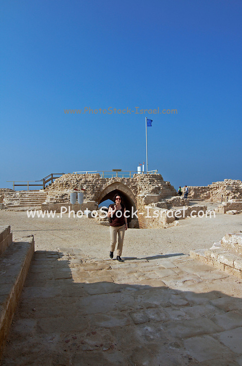 The remains of the old fort of Apolonia, Herzelia, Israel, Arsuf, Herzelia, Israel<br /> Apollonia is an archaeological park containing the ruins of the Crusade city, fort and port on the Mediterranean Sea, In 1101 it fell to the Crusaders who named the place Lordship of Arsur in the Kingdom of Jerusalem