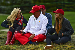 September 30, 2017 - Jersey City, New Jersey, U.S - Phil Mickelson of the US Team with family during Saturday matches of the Presidents Cup at Liberty National Golf Club in Jersey City, NJ  (Credit Image: © Brian Ciancio via ZUMA Wire)