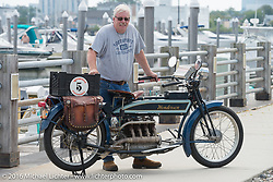 Jeff Tiernan of New York with his Mark Hill restored 4-cylinder 1913 Henderson class-2 bike before the start of the Motorcycle Cannonball Race of the Century Run. Atlantic City, NJ, USA. September 9, 2016. Photography ©2016 Michael Lichter.