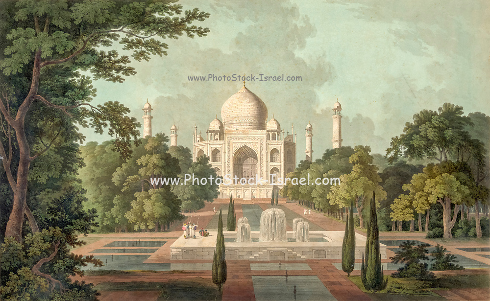 The Taje Mah'l [The Taj Mahal] at Agra drawn and Engraved by Thomas and William Daniell painted from within the gardens