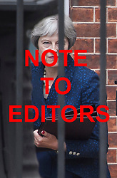 **NOTE TO EDITORS: Pictures were taken after the resignation of BORIS JOHNSON.**<br /> © Licensed to London News Pictures. 09/07/2018. London, UK. British Prime Minister THERESA MAY is seen leaving Downing Street following the resignation of former Brexit Secretary David Davis and Foreign Secretary Boris Johnson. Photo credit: Ben Cawthra/LNP