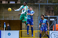 Plymouth Argyle forward Freddie Ladapo (19) clashes with Wycombe Wanderers defender Adam El-Abd(6) during the EFL Sky Bet League 1 match between Wycombe Wanderers and Plymouth Argyle at Adams Park, High Wycombe, England on 26 January 2019.