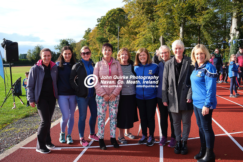 19/10/2019, Official opening of Dunboyne AC Track & facility<br /> Pictured at the opening were L-R,  Michelle Eglington, Ciara Devitt, Karen O`Flaherty, Paula Gahan, Betty Cunningham, Michelle Wall, Delores Clince, Kate Dunne & Teresa Smith <br /> Photo: David Mullen / www.quirke.ie ©John Quirke Photography, Unit 17, Blackcastle Shopping Cte. Navan. Co. Meath. 046-9079044 / 087-2579454.<br /> ISO: 400; Shutter: 1/250; Aperture: 6.4; <br /> File Size: 55.2MB
