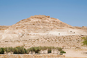 Israel, Negev, The ruins of ancient Nabataean city of Avdat (or Ovdat) on a hill overlooking the trade route