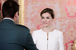 06.06.2015, Palacio Real, Madrid, ESP, Armed Forces Day Ceremony 2015, im Bild Queen Letizia of Spain attends the 2015 Armed Forces Day Ceremony // during the Armed Forces Day Ceremony 2015 at the Palacio Real in Madrid, Spain on 2015/06/06. EXPA Pictures © 2015, PhotoCredit: EXPA/ Alterphotos/ Pool<br /> <br /> *****ATTENTION - OUT of ESP, SUI*****