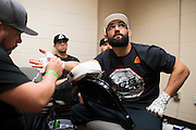DALLAS, TX - MARCH 14:  Johny Hendricks has his hands wrapped before his fight against Matt Brown during UFC 185 at the American Airlines Center on March 14, 2015 in Dallas, Texas. (Photo by Cooper Neill/Zuffa LLC/Zuffa LLC via Getty Images) *** Local Caption *** Johny Hendricks