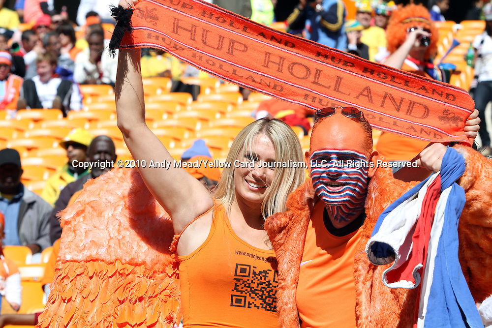 14 JUN 2010:  Dutch fans in the stands.  The Netherlands National Team played the Denmark National Team at Soccer City Stadium in Johannesburg, South Africa in a 2010 FIFA World Cup Group E match.