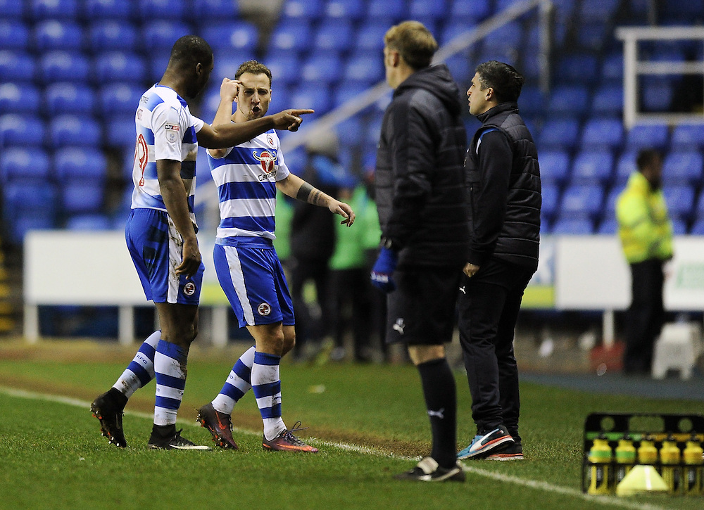 Reading's Roy Beerens argues with Yakou Meite at the final whistle after their 1-0 defeat in the Sky Bet Championship match to Queens Park Rangers at Madejski Stadium <br /> <br /> Photographer Ashley Western/CameraSport<br /> <br /> The EFL Sky Bet Championship - Reading v Queens Park Rangers - Thursday 12th January 2017 - Madejski Stadium - Reading<br /> <br /> World Copyright © 2017 CameraSport. All rights reserved. 43 Linden Ave. Countesthorpe. Leicester. England. LE8 5PG - Tel: +44 (0) 116 277 4147 - admin@camerasport.com - www.camerasport.com