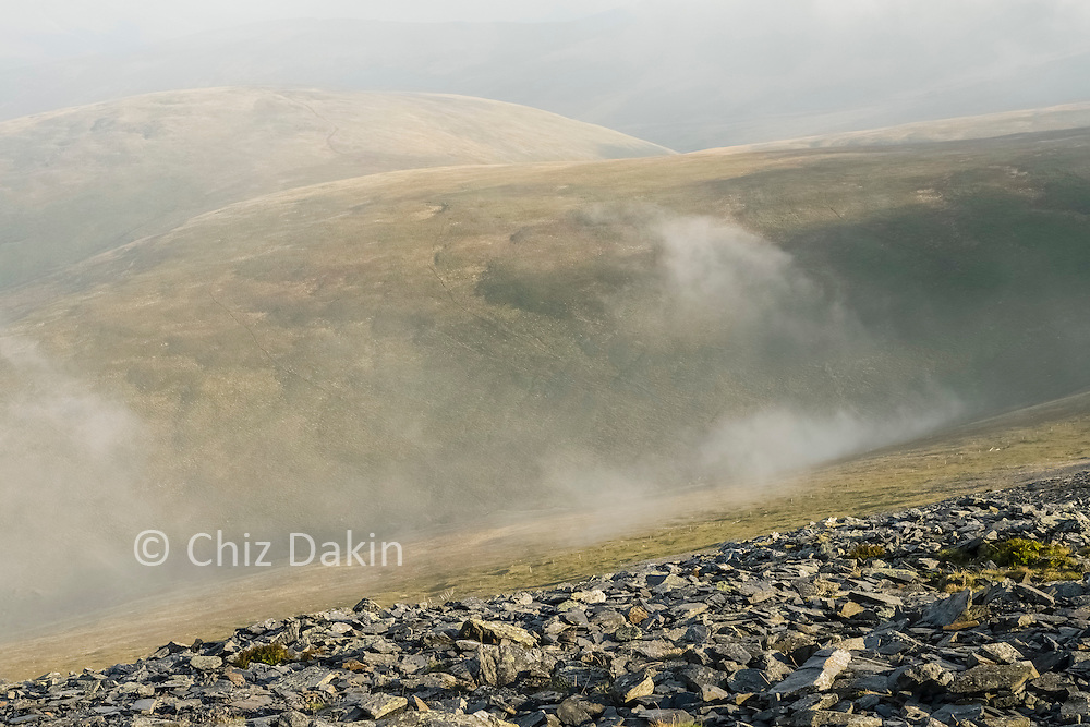 Tantalising hints of a view across Skiddaw Forest before the clouds close in once more