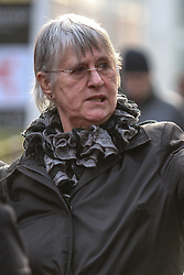 © Licensed to London News Pictures . FILE PHOTO DATED 14 January 2013 . Manchester , UK . HILARY BREWER (pictured) , the ex-wife of former musical director of Chetham's School , Michael Brewer (NOT pictured) , pictured outside Manchester Crown Court . Michael Brewer has been handed a six year sentence for sexually abusing a former pupil and Hilary Brewer has been jailed for 21 months for indecent assault today (26th March) . Photo credit : Joel Goodman/LNP