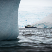 The Polar Pioneer, the flagship Antarctic cruise ship of Australian tour company Aurora Expeditions, idles naer shore in Curtis Bay in Antarctica.