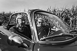 02 Sept 2019. St Denoeux, Pas de Calais, France.<br /> Messing about with cars. Simon and Mark in the Lotus Elan Sprint.<br /> Photo©; Charlie Varley/varleypix.com