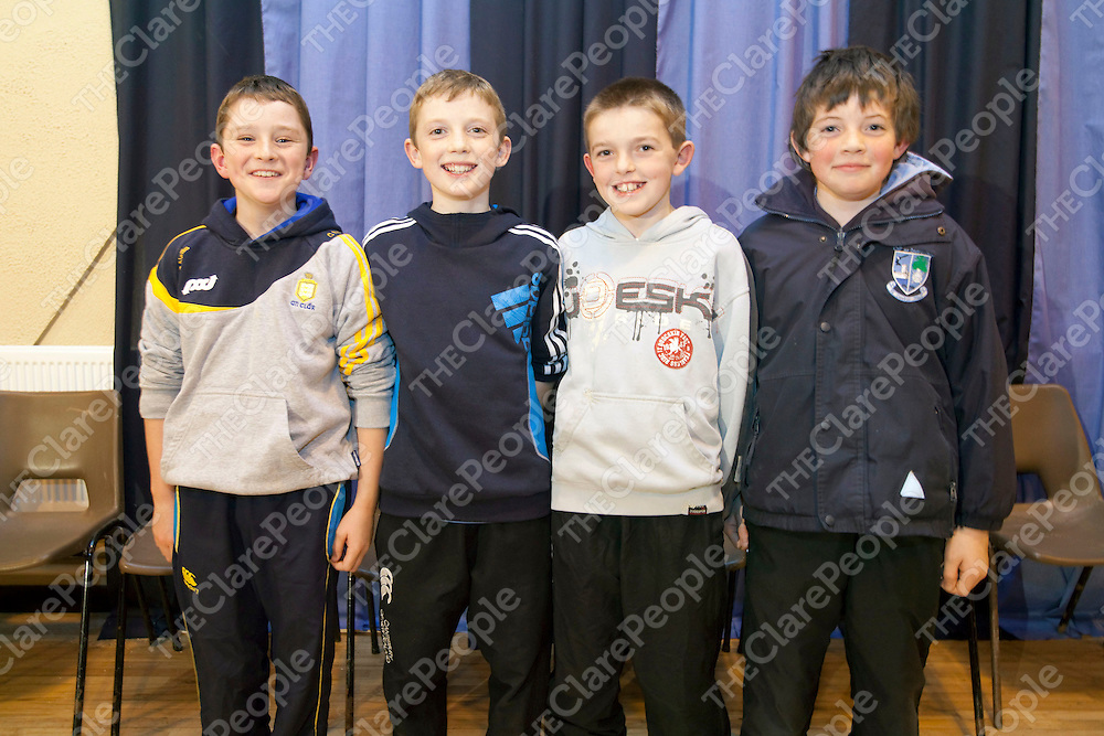 02/12/11<br /> Seamus Casey, Diarmuid O'Donnell, Mikey Donnelan and Paul O'Sullivan  pictured at Kildysart GAA 125 year Anniversary Celebrations at Kildysart Community Centre.<br /> Picture: Don Moloney / Press 22