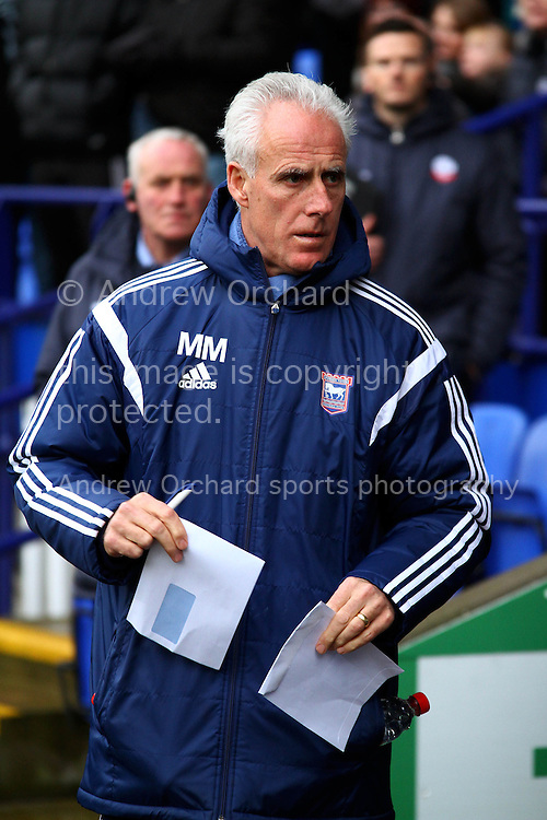Ipswich Town Manager Mick McCarthy looks on prior to kick off. Skybet football league championship match, Bolton Wanderers v Ipswich Town at the Macron stadium in Bolton, Lancs on Saturday 13th December 2014.<br /> pic by Chris Stading, Andrew Orchard sports photography.