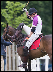 May 25, 2018 - Cirencester, United Kingdom - Image licensed to i-Images Picture Agency. 25/05/2018. Cirencester , United Kingdom. The Duke of Cambridge dismounts after taking part in the  Jerudong Trophy charity polo match at Cirencester Park Polo Club, Gloucestershire, United Kingdom. (Credit Image: © Stephen Lock/i-Images via ZUMA Press)