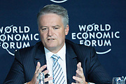 Mathias Cormann, Minister for Finance; Leader of the Government in the Senate of Australia, speaking in the The Global Impact of Australia's Wildfires session at the World Economic Forum Annual Meeting 2020 in Davos-Klosters, Switzerland, 22 January. Congress Centre - Issue Briefing Room. Copyright by World Economic Forum/ Greg Beadle