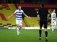 Football - 2020 / 2021 Sky Bet Championship - Watford vs Queens Park Rangers - Vicarage Road<br /> <br /> Geoff Cameron of Queens Park Rangers protests to Referee Jarred Gillett after he concedes a penalty.<br /> <br /> COLORSPORT/ASHLEY WESTERN