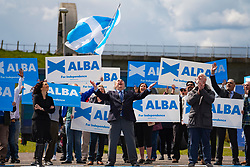 Falkirk, Scotland, UK. 30 April 2021. Leader of the pro Scottish nationalist Alba Party , Alex Salmond, campaigns with party supporters at the Falkirk Wheel ahead of Scottish elections on May 6th.  Iain Masterton/Alamy Live News