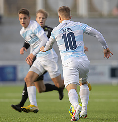 Jeppe Kjær (FC Helsingør) under kampen i 1. Division mellem FC Helsingør og Kolding IF den 24. oktober 2020 på Helsingør Stadion (Foto: Claus Birch).