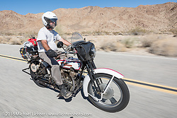 Vinnie Grasser of Florida on his 1916 Harley-Davidson during the Motorcycle Cannonball Race of the Century. Stage-14 ride from Lake Havasu CIty, AZ to Palm Desert, CA. USA. Saturday September 24, 2016. Photography ©2016 Michael Lichter.