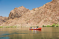 Canoers explore The Black Canyon, Nevada.