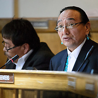 012714  Adron Gardner/Independent<br /> <br /> Navajo Nation Vice President Rex Lee Jim addresses the Navajo Nation Tribal Council on day one of the winter council session in Window Rock Monday.