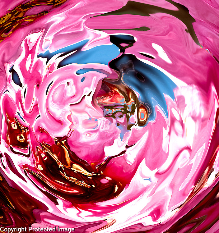round abstract pink fluid shape with white,brown,blue and white bright shades with pink color dominant tones in high contrast
