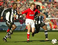 Photo: Scott Heavey<br />Charlton V Newcastle. 15/03/03.<br />Charlton's Jonathan Johansson bursts through the Newcastle defence during this Premiership match.