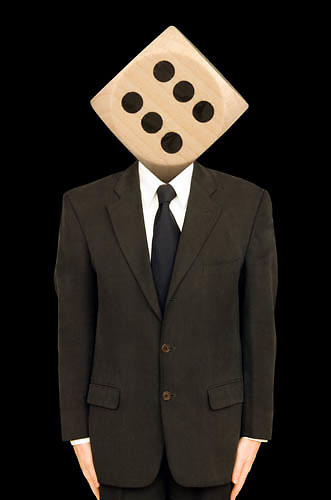 man with dice for a head, chancer, concept, risk<br />