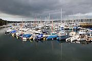 Yachts moored in marina, Falmouth, Cornwall, England, UK