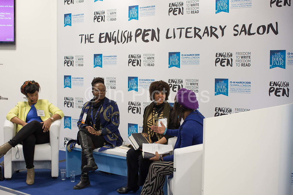 The New Daughters of Africa. Margaret Busby, Ellah Wakatama Allfrey and Chibundu Onuzo during day three of the London Book Fair on the 14th March 2019 at London Olympia in the United Kingdom.