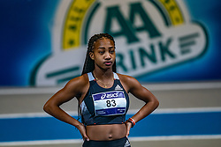 N'ketia Seedo in action on the 60 meters during limit matches to be held simultaneously with the Dutch Athletics Championships on 13 February 2021 in Apeldoorn