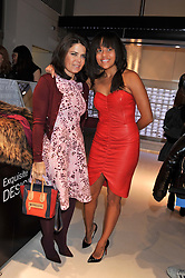 Left to right, DANIELLA ISSA HELAYEL and RACHEL BARRETT at the unveiling of the Helena Christensen and Swarovski Crystallized Unsigned Model search winners held at Swarovski Crystallized, 24 Great Marlborough Street, London on 26th January 2012.