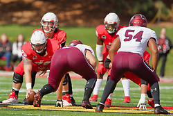 NORMAL, IL - October 13: Brady Davis under center Garrett Hirsch during a college football game between the ISU (Illinois State University) Redbirds and the Southern Illinois Salukis on October 13 2018 at Hancock Stadium in Normal, IL. (Photo by Alan Look)