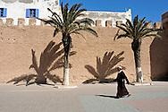 Morocco, Essaouira. Man walking near the walls of the medina with the shadows of palms on them.