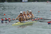 Lucerne SWITZERLAND,  USA W4X. Bow Stesha CARLE, Megan KALMOE, Esther LOFGREN and Natalie DELL, at the   2011 FISA World Cup on the Lake Rotsee.  15:12:27  Saturday   09/07/2011   [Mandatory Credit Peter Spurrier/ Intersport Images]