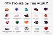 Cutout of a gemstone identification chart on white background