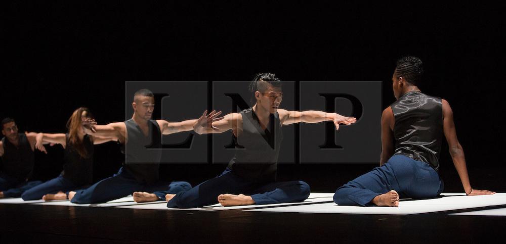 "© Licensed to London News Pictures. 11/10/2012. London, England. UK Premiere of New York's Cedar Lake Contemporary Ballet at Sadler's Wells Theatre, London. Rehearsal of Alexander Ekman's ""Tuplet"". Dancers of this section: Jon Bond, Nickemil Concepcion, Matthew Rich, Joaquim de Santana, Navarra Novy-Williams and Ebony Williams. Photo credit: Bettina Strenske/LNP"