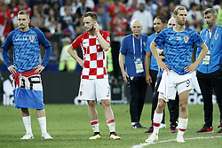 (L-R) Filip Bradaric of Croatia, Ivan Rakitic of Croatia, Marko Pjaca of Croatia during the 2018 FIFA World Cup Russia Final match between France and Croatia at the Luzhniki Stadium on July 15, 2018 in Moscow, Russia