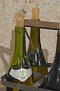Transporting bottles in a carrying basket. Domaine Marc Jomain, Puligny Montrachet, Cote de Beaune, d'Or, Burgundy, France