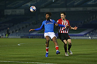 Football - 2020 / 2021 Sky Bet League One - Portsmouth vs. Sunderland - Fratton Park<br /> <br /> Portsmouth's Ellis Harrison grabs a handful of Luke O'Nien of Sunderland shirt during the League One fixture at Fratton Park  <br /> <br /> COLORSPORT/SHAUN BOGGUST