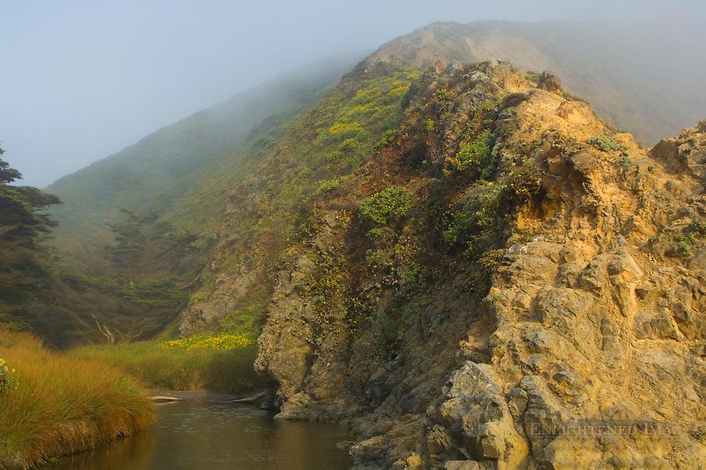 Stream flowing below cliffs and hills at Pfeiffer Beach, Big Sur Coast, Monterey County, California