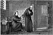 Roger Bacon (c1214-92) English experimental scientist, philosopher and Franciscan (Grey Friar); called 'Doctor Mirabilis'. Bacon imprisoned in monastery in Paris, sending manuscript of his 'Opus Majus' to  Pope Clement IV, using brother friar as messenger